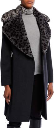Via Spiga Leopard Faux-Fur Wool Coat