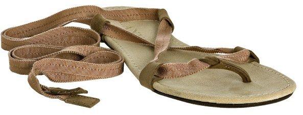 Lanvin camel grosgrain lace up flat thong sandals