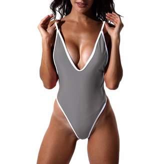 fefe1e5bde5ae CFR Sexy High Cut One Piece Deep V Swimsuits Bathing Suits Monokini XL