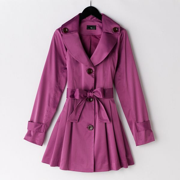 Iz Byer California Pleated Sateen Trench Coat