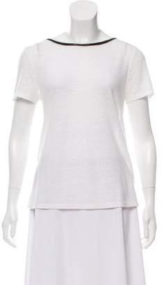 Alice + Olivia Crew Neck Leather Trim T-Shirt