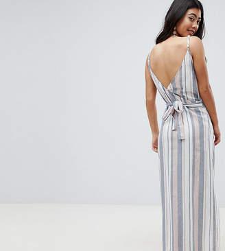 2709d2d454 Asos DESIGN petite woven stripe v wrap maxi beach dress