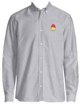 Ami Smiley Stripe Cotton Button-Down Shirt