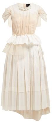 Simone Rocha Beaded Taffeta, Lace And Tulle Midi Dress - Womens - Ivory Multi