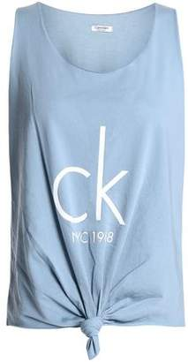 Calvin Klein Knotted Printed Cotton-Blend Jersey Tank