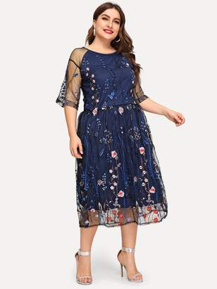 Shein Plus Contrast Mesh Embroidery Dress