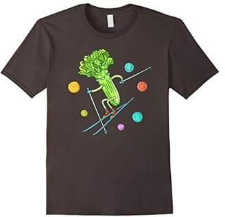 Funny Downhill Skiing Celery Vegan T-Shirt