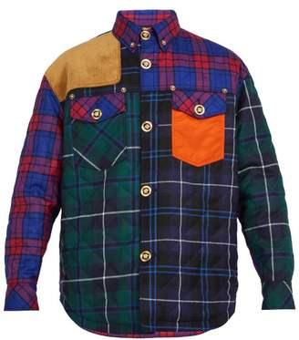 Versace Contrast Panel Checked Wool Blend Shirt - Mens - Multi