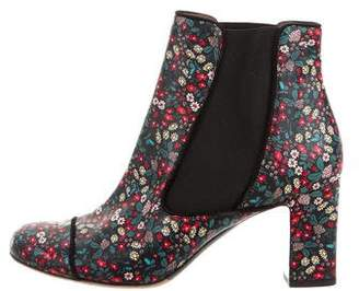 Tabitha Simmons Floral Print Leather Ankle Boots