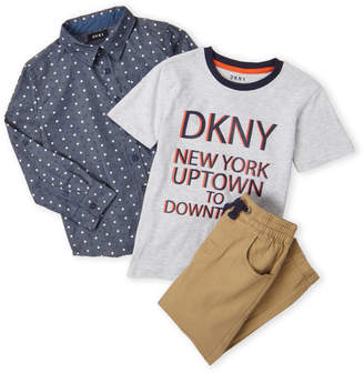 DKNY Boys 4-7) 3-Piece Chambray Star Shirt & Twill Joggers Set