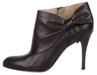 Valentino Leather Round-Toe Booties