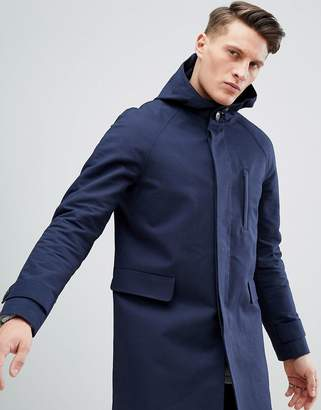 Asos DESIGN hooded trench coat with shower resistance in navy