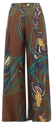 La Prestic Ouiston Obviously Coral Print Silk Satin Twill Trousers - Womens - Brown Multi