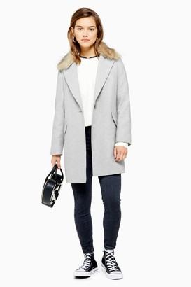 Topshop PETITE Faux Fur Collar Grey Coat
