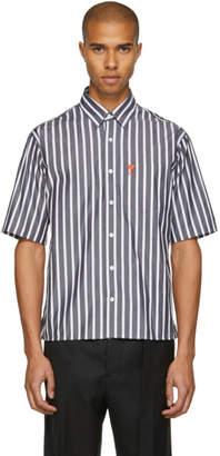 Ami Alexandre Mattiussi Black and White Striped Ami de Coeur Shirt