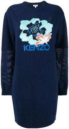 Kenzo embroidered hibiscus sweatshirt dress