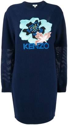 Kenzo embroidered hibiscus sweatshirt dress