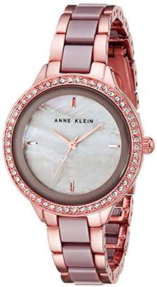 Anne Klein Women's AK/1418RGTP Swarovski Crystal Accented Rose Gold-Tone and Taupe Ceramic Bracelet Watch