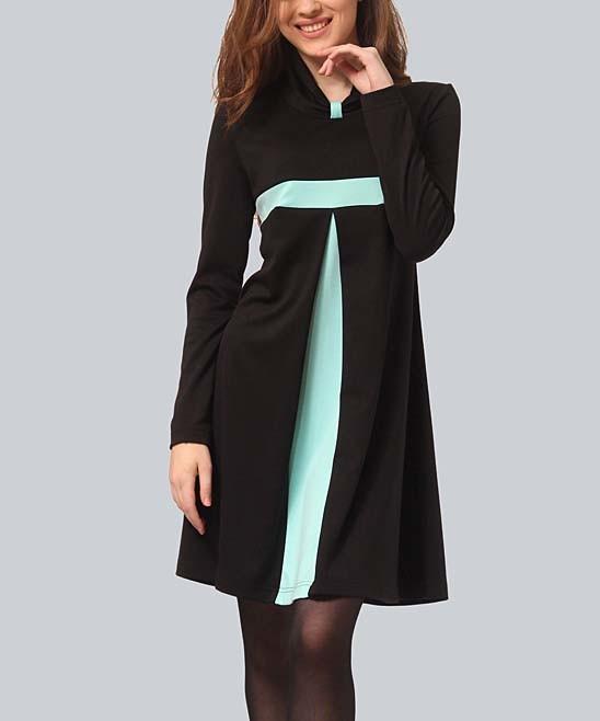 Black & Mint Color Block Empire-Waist Dress - Women & Juniors