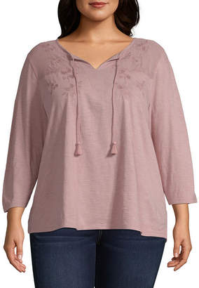 ST. JOHN'S BAY Embroidered Mesh Yoke Peasant Blouse - Plus