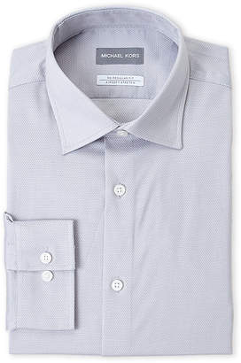 Michael Kors Stretch Regular Fit Jacquard Dress Shirt