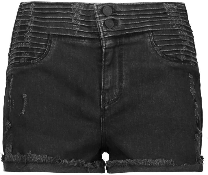 RtA Salvador ribbed stretch-denim shorts