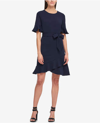 DKNY Belted Ruffle-Hem Scuba Crepe Dress, Created for Macy's