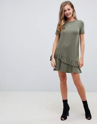 Asos DESIGN mini t-shirt dress with drop ruffle hem