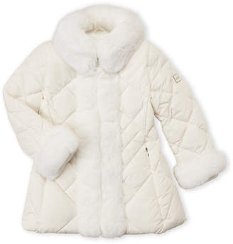 ADD Girls 4-6x) Quilted Real Fur Trim Down Jacket