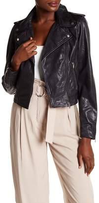 LAMARQUE Washed Genuine Lambskin Leather Crop Moto Jacket