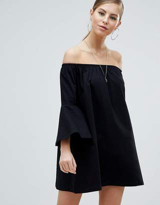 Asos DESIGN Off Shoulder Mini Dress with Trumpet Sleeve
