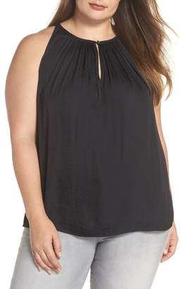 Vince Camuto Rumpled Satin Keyhole Top