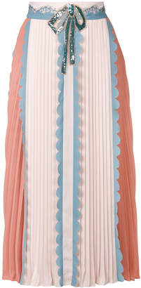 Elisabetta Franchi colour block pleated skirt with scallop trim