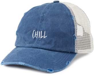 "Women's Distressed ""Chill"" Mesh Back Trucker Cap"