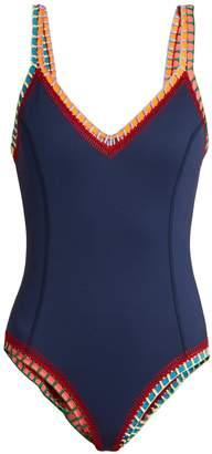 Kiini Tasmin scoop-back crochet-trimmed swimsuit