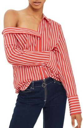 Women's Topshop Stripe Off The Shoulder Top $55 thestylecure.com