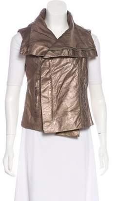 Rick Owens Metallic Leather Vest Gold Metallic Leather Vest