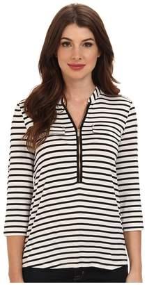 Calvin Klein Zip Front Roll Sleeve Women's Long Sleeve Pullover