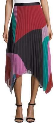 Joie Dashiella Colorblocked Pleated Asymmetric Midi Skirt