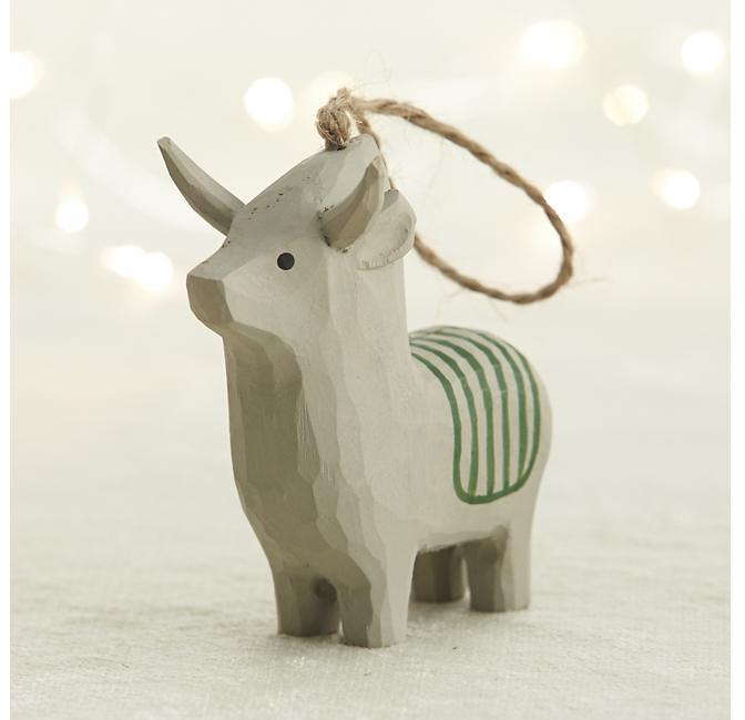 Crate & Barrel Carved Wood Donkey Ornament