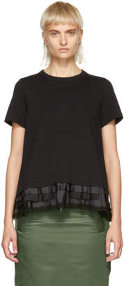 Sacai Black Cotton Jersey T-Shirt