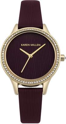 Karen Millen Women's Quartz Gold-Tone and Leather Casual Watch, Color Red (Model: KM165VG)