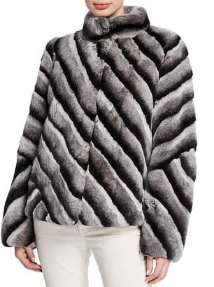 Gorski Diagonal Button-Down Rabbit Fur Stroller Coat