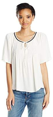 Velvet by Graham & Spencer Women's Pintuck Shortsleeve Swing Blouse