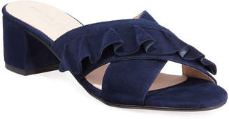 Patricia Green Ruffles Block-Heel Leather Slide Mules
