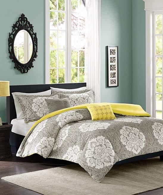 Gray Geometric Blooms Duvet Cover Set