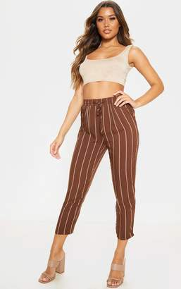 PrettyLittleThing Burgundy Multi Stripe Casual Trousers