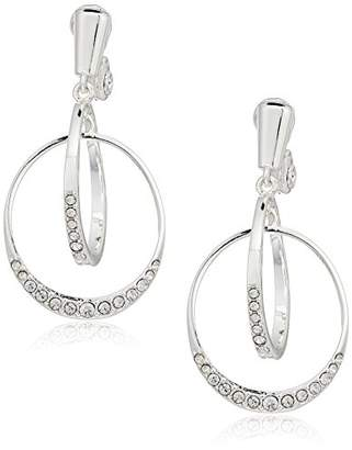 Anne Klein 2 Ring Pave Clip-On Earrings