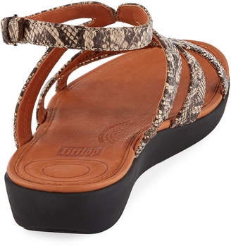 FitFlop Strata Snake-Print Leather Gladiator Sandals