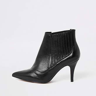 River Island Black leather pointed toe ankle boots